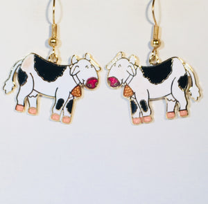 Cow with Heart Stefano Earrings Vintage ( new ) Cloisonne dangle gold plate Factory Prices Collectible