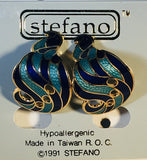 S Curl Stefano Vintage (new) cloisonne Clip-on earrings, gold plate Factory Prices Collectible