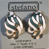 S Curl Geometric Clip-on Stefano Vintage ( new ) Cloisonne earrings gold plate Factory Prices Collectible