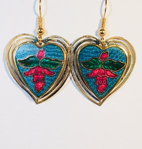 Double Heart Earrings Stefano Vintage (new) cloisonne dangle gold plate Factory Prices