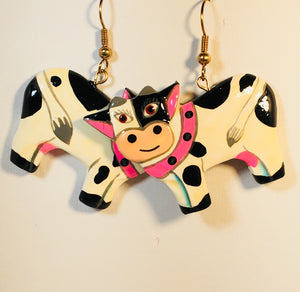 Cute Cow Dangle Earrings Handmade by Stefano Bali Artisans Vintage  Factory Prices Collectible