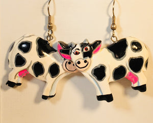 Betsy Cow Dangle Earrings Handmade by Stefano Bali Artisans Factory Prices Collectible