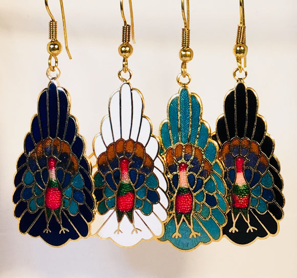 Elegant Peacock Dangle Earrings  Stefano Vintage (new) Cloisonne gold plate Factory Prices  Collectible