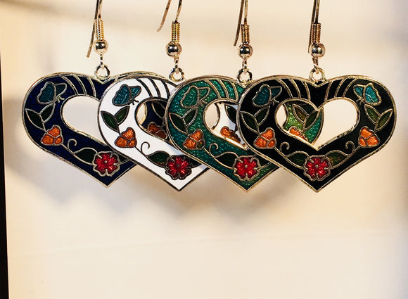 Heart Dangle Earrings Stefano Vintage (new) Cloisonne silver plate Factory Prices