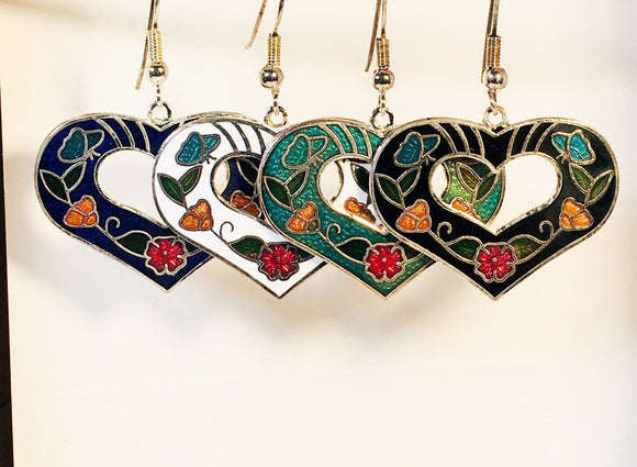 Heart Earrings. Stefano Vintage cloisonne dangle (drop) earrings, gold plate new