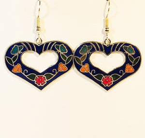 Heart Earrings Stefano Vintage cloisonne dangle (drop) gold plate Factory Prices