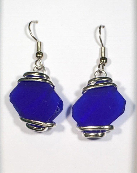 Seaglass Dangle Earrings dark blue silver plated