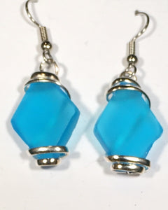Seaglass Dangle Earrings turquoise silver plated