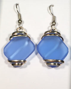 Seaglass Dangle Earrings light blue silver plated