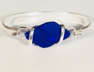 Seaglass Bangle Bracelets light blue silver plated