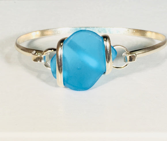 Seaglass Bangle Bracelets turquoise silver plated