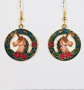 Unicorn Dangle Earrings Stefano Vintage ( new ) Cloisonne gold plate Factory Prices Rare
