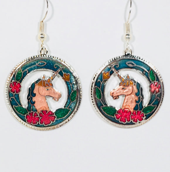 Unicorn Earrings Stefano Vintage ( new ) Cloisonne dangle (drop) silver plate Collectible