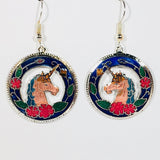 Unicorn Dangle Earrings Stefano Vintage new Cloisonne silver plate Factory Prices