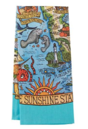 Map of Florida Souvenir Tea Towel