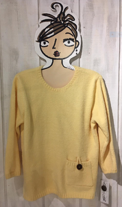 LuLu B Colorful Comfy Clothing Sunshine Yellow Chenille Pocket Pullover