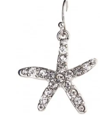Rain Dangle Earrings Silver and Crystal Starfish