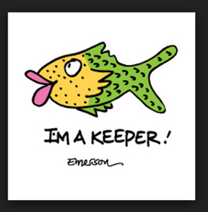 """ I'm a Keeper "" Fish Sleep Shirt   Adult one size, cotton"