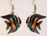 Tropical Fish Dangle Dangle Earrings Stefano Vintage new Cloisonne silver plate Factory Prices Collectible