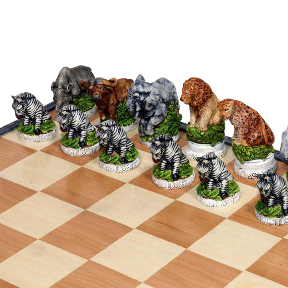 A close-up view of our hand-painted African animal chess set. The chess pieces capture the beauty of our African animals.
