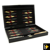 The African animal backgammon set comes with an African themed shield and spear board, 30 playing discs, two dice and a rolling cup.