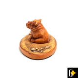 Perspective view of the baby hippo collectable. Buy this African curio now.