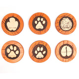 Perspective view of the round animal spoor coasters. Buy this African curio now.