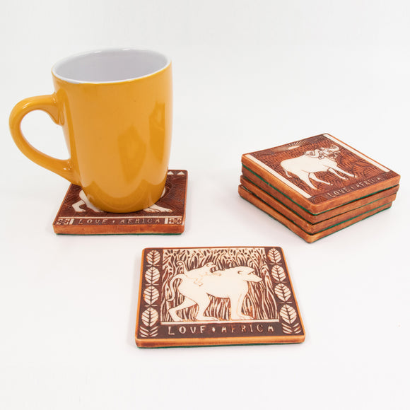 Top view of the square brown animal coasters. Buy this African gift now.