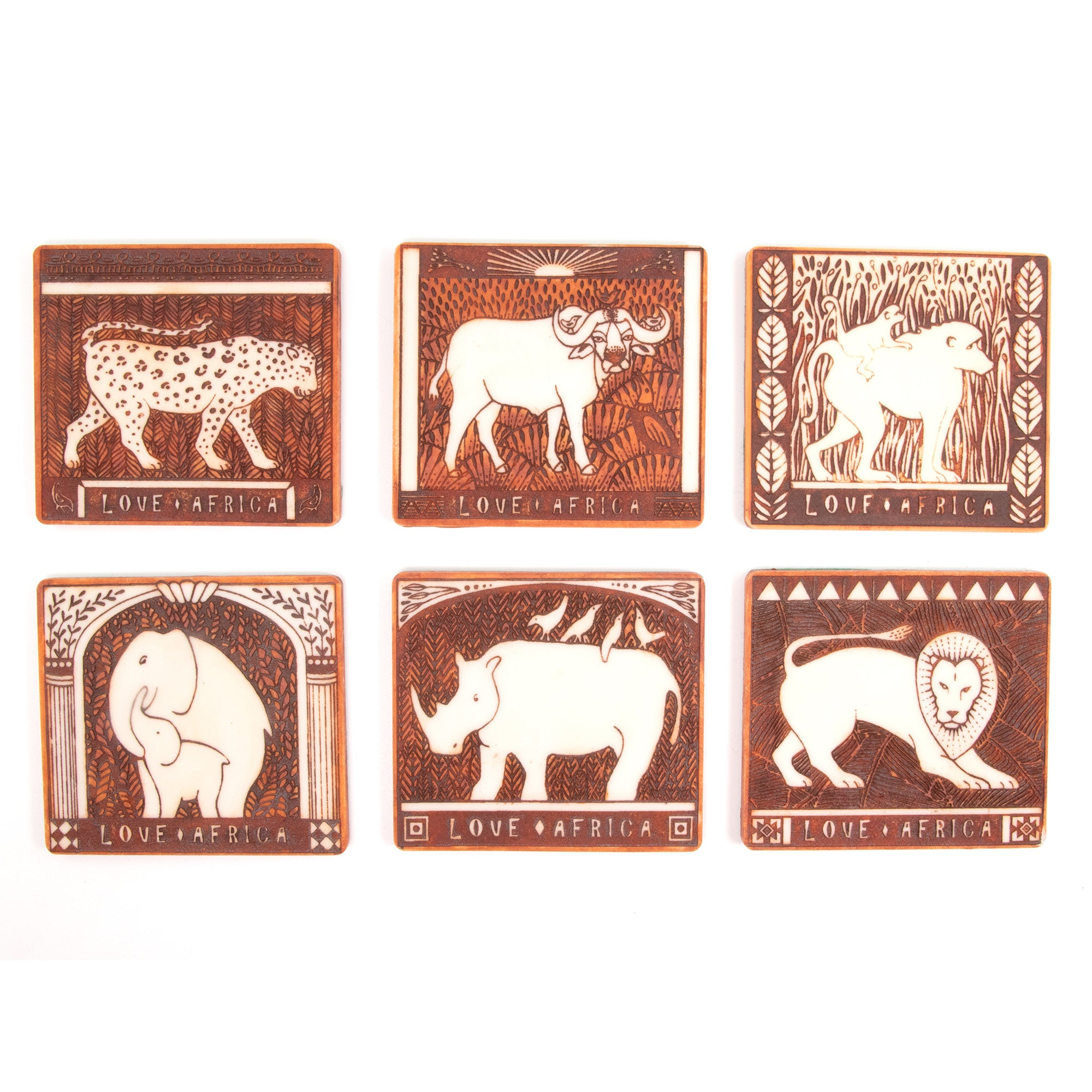 Coasters Love Africa - Animal Sets - Brown