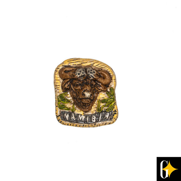 Top view of the Namibia buffalo magnet. Buy this African gift now.