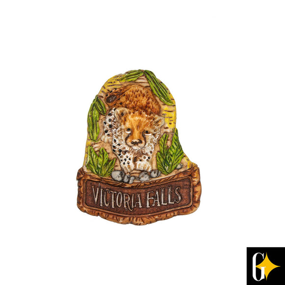 Top view of the Victoria Falls baby cheetah magnet. Buy this African gift now.