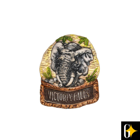 Top view of the Victoria Falls elephant calf magnet. Buy this African gift now.