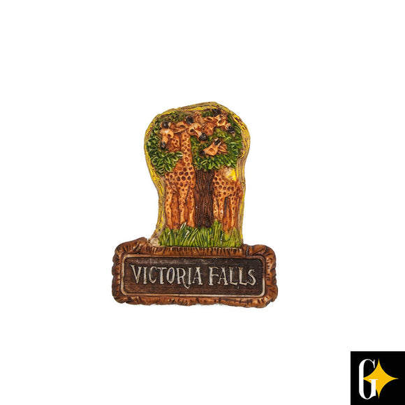 Top view of the Victoria Falls giraffe pair magnet. Buy this African gift now.