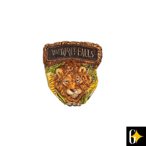 Top view of the Victoria Falls lion magnet. Buy this African gift now.