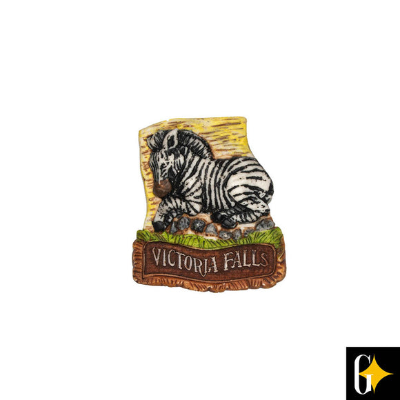 Top view of the Victoria Falls zebra magnet. Buy this African gift now.