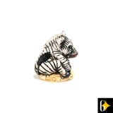 Perspective view of the zebra collectable. Buy this African curio now.