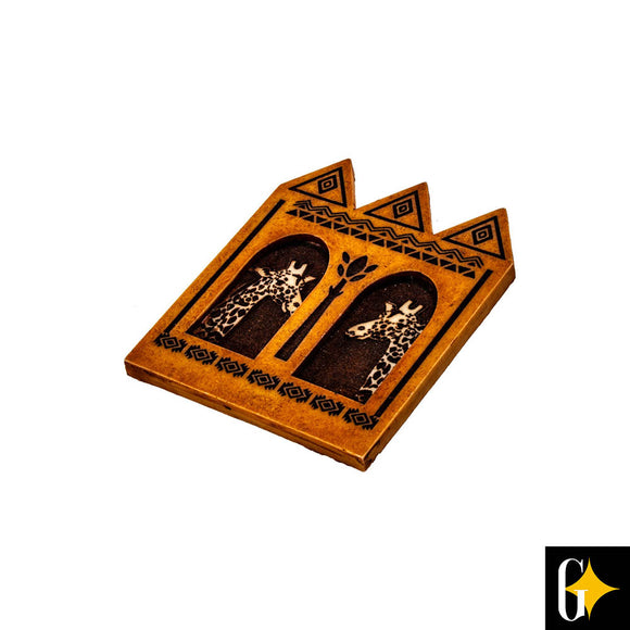 Top view of the geometric giraffe pair magnet. Buy this African gift now.