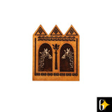 Perspective view of the geometric giraffe pair magnet. Buy this African curio now.