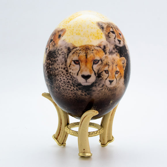 Cheetah Faces Egg Natural with Stand