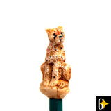 Perspective view of the cheetah pencil. Buy this African curio now.