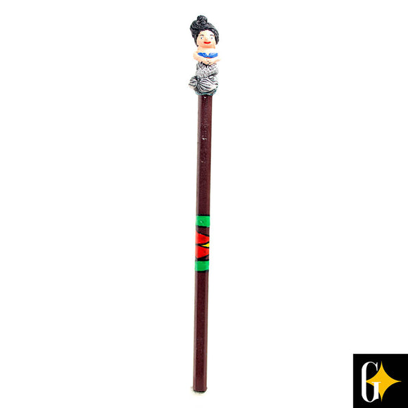 Top view of the mermaid with black hair pencil. Buy this African gift now.