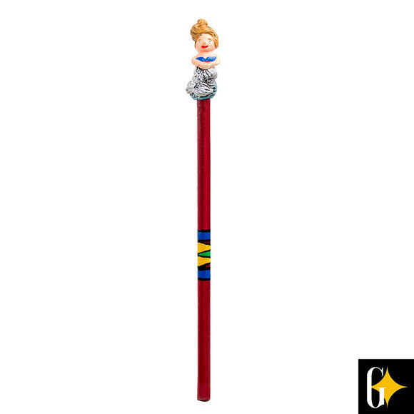 Top view of the blonde mermaid pencil. Buy this African gift now.