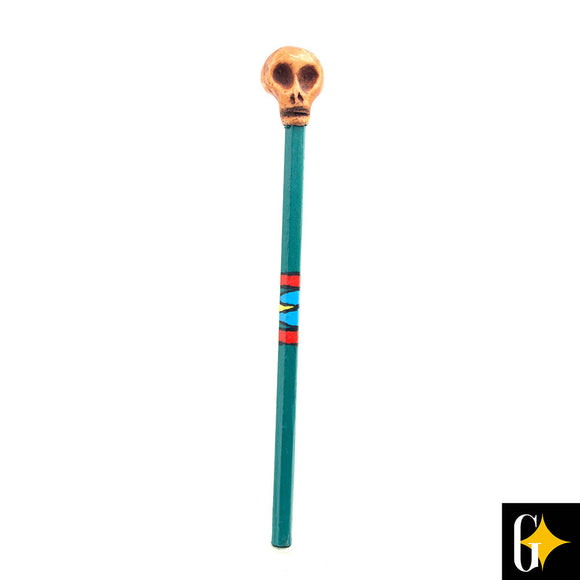 Top view of the brown skull pencil. Buy this African gift now.