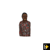 Top view of the magnet of Nelson Mandela in a red shirt. Buy this African gift now.