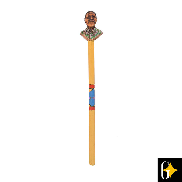Top view of the pencil featuring Nelson Mandela in a green shirt. Buy this African gift now.