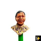 Perspective view of the pencil featuring Nelson Mandela in a yellow shirt. Buy this African curio now.