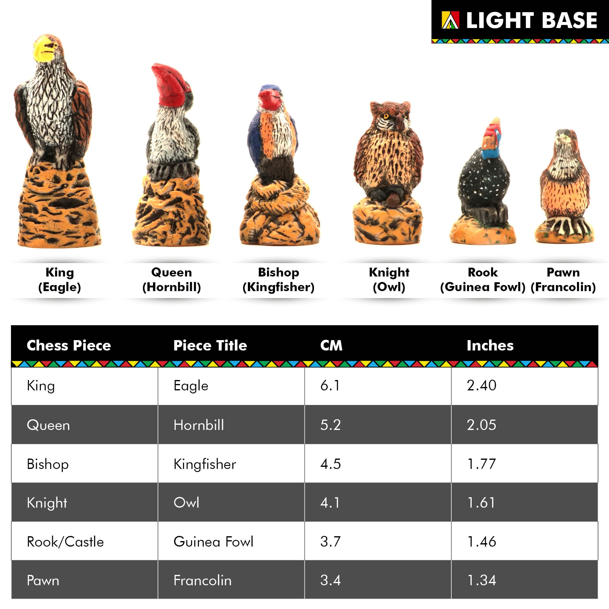 Mini African Bird Chess Set