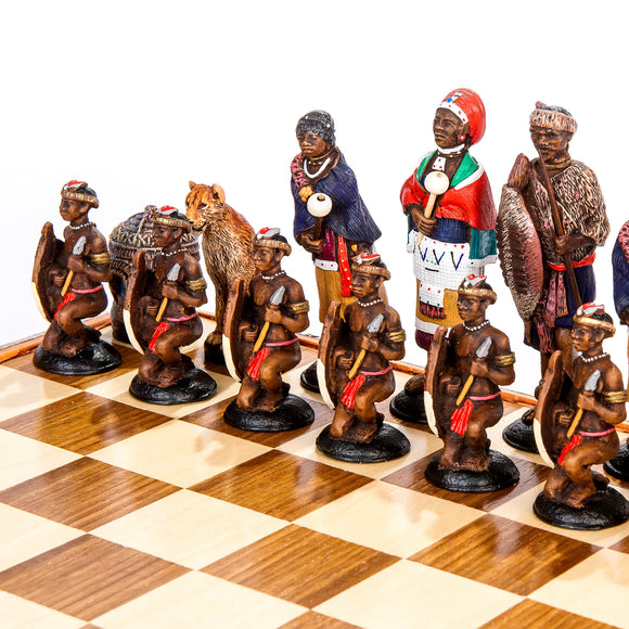 Large African Tribal Chess Set - Zulu / Ndebele