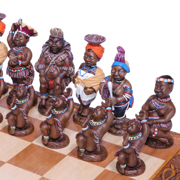 A close-up view of our beautiful African tribal chess set. It has been crafted from polystone and is painted by hand.