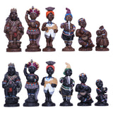 This unique African themed chess pieces have been beautifully painted by hand. Our artists strive to reflect authentic African culture in their designs.